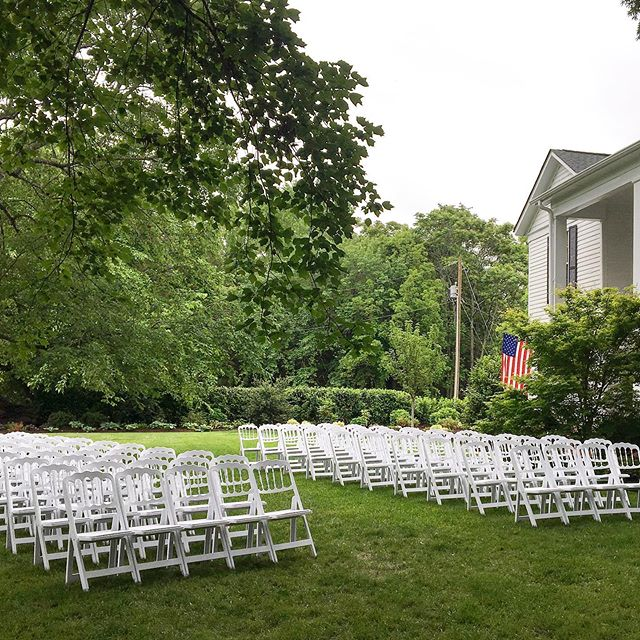 Our ceremony chairs looks so sweet, especially on the front lawn at @tirzahfarmvenue !!