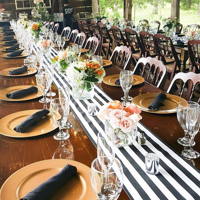 This rehearsal dinner setup from a couple weeks ago was so nice. @tirzahfarmvenue was just the right combination of rustic and modern for this wonderful bride!