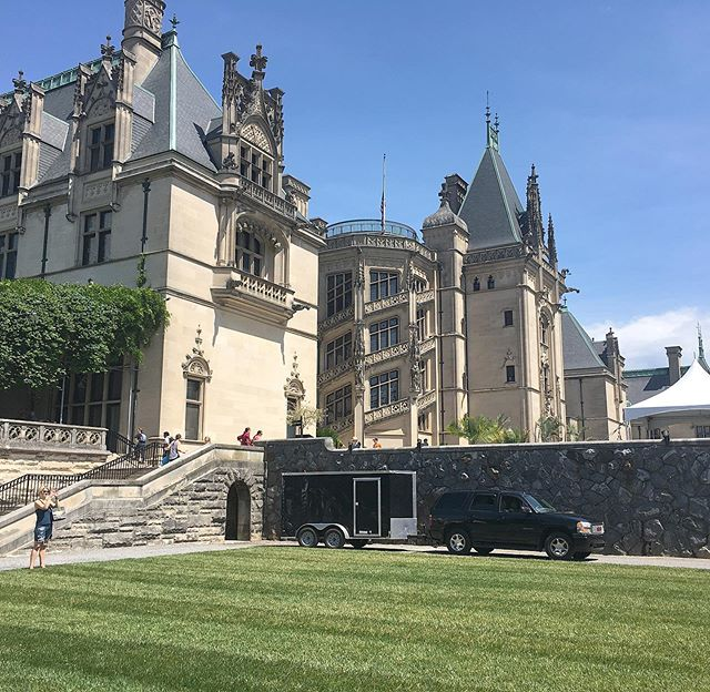 Today is our first @biltmoreestate wedding!!! All of our gold and etched water, wine and champagne coupe glasses got the chance to visit this beautiful property as well as our Gatsby sofa and other select pieces. Beautiful day for it!!