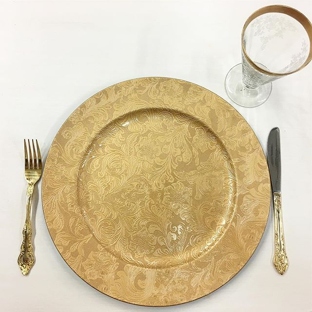 New inventory!! Check out our new Gold Paisley Charger plates!!