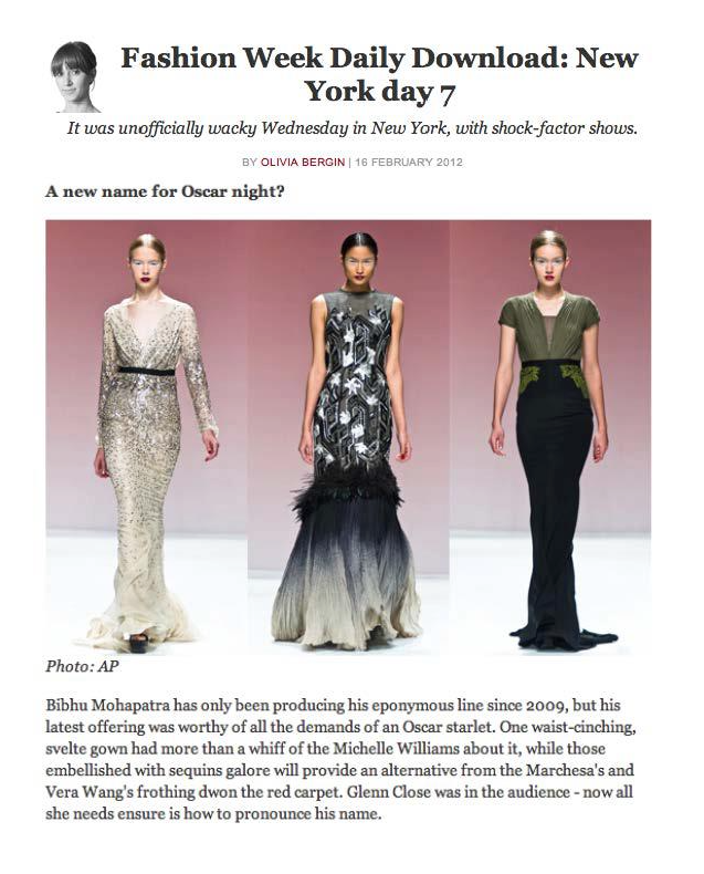 Bibhu Mohapatra - Telegraph.co.uk - February 16, 2012