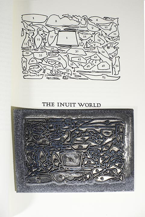 This is the zinc plate for the illustration included in the Inuit World. The texture around the border is oxidation.
