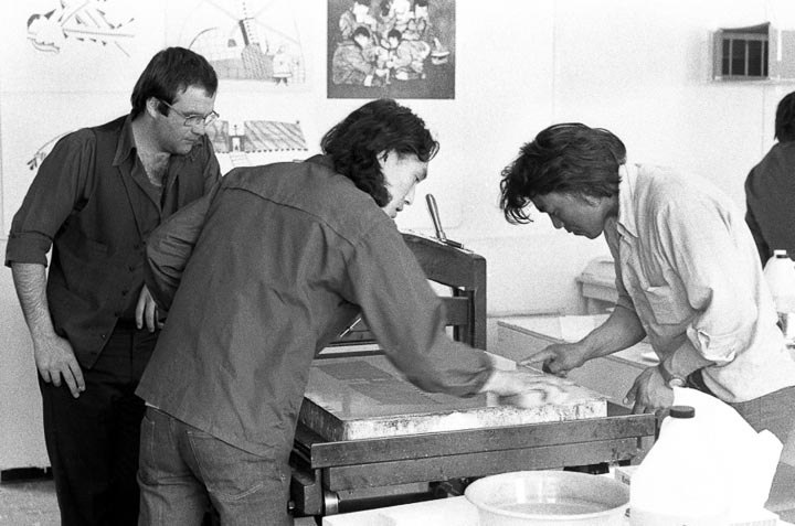 The Fuchs and Lang presses were early workhorses but quickly replaced by Charles Brand Presses.  Left to right Wallace Brennan, Audla Pudlat and ?  photo:Tessa MacIntosh