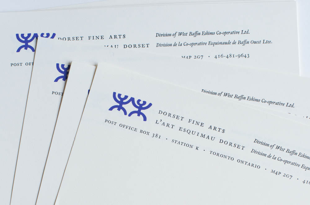 Blue letterhead for Dorset Fine Arts