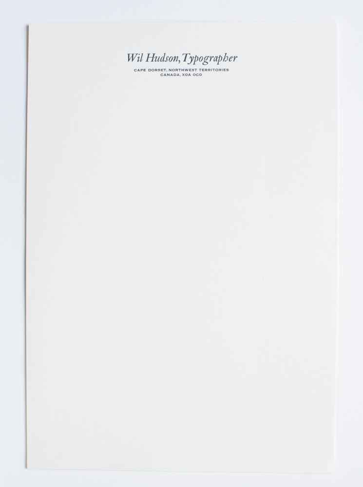 Wil Hudson's letterhead, Northwest Territories