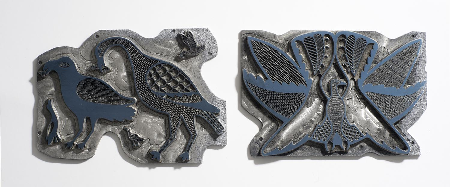 Above:Two small zinc plates in excellent shape. The original art on the right was made by Eliyakota on the left it looks like a combination of Lucy, Elyakota and or Kenojuak? I have never seen these plates printed. If you know anything about them please let me know.