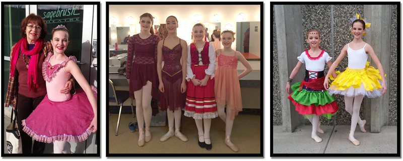 At Sagebrush Theatre.  Left: Lizette & Chantalle.  Middle:  Hailee, Felize, Peyton & Abigail.  Right:  Megan & Avery