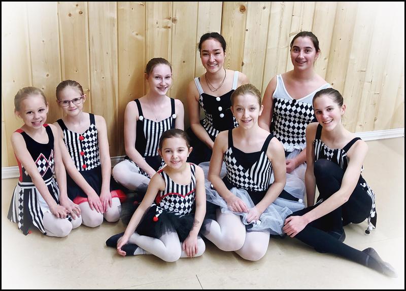 Jesters (Demi-Character Ballet Group): Costume Fitting & Rehearsal.  Back: Mikayla, Dani, Abigail, Felize, Miranda. Front: Kate, Megan, Avery.