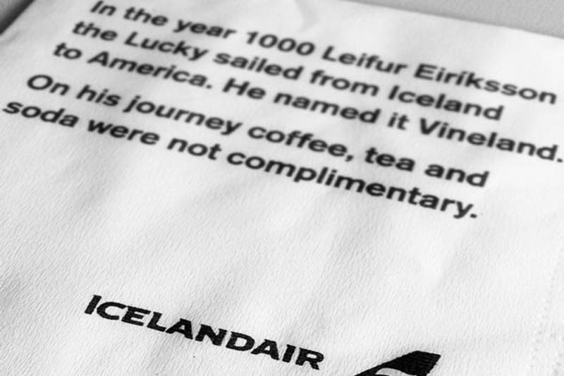 icelandair cocktail napkin