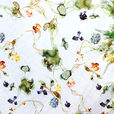 Grand Green Flax  fabric for  Ljungbergs Factory .  Top:  Blommigt  wallpaper from the  Poetry  collection for  BoråsTapeter .