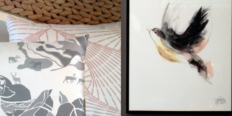 Fabrics from  Frösö Handtryck  by Emelie Ek and Katarina Widegren. Illustration by  Bob Noon .  Top: trend exhibition details at Formex Autumn/Winter 2014.