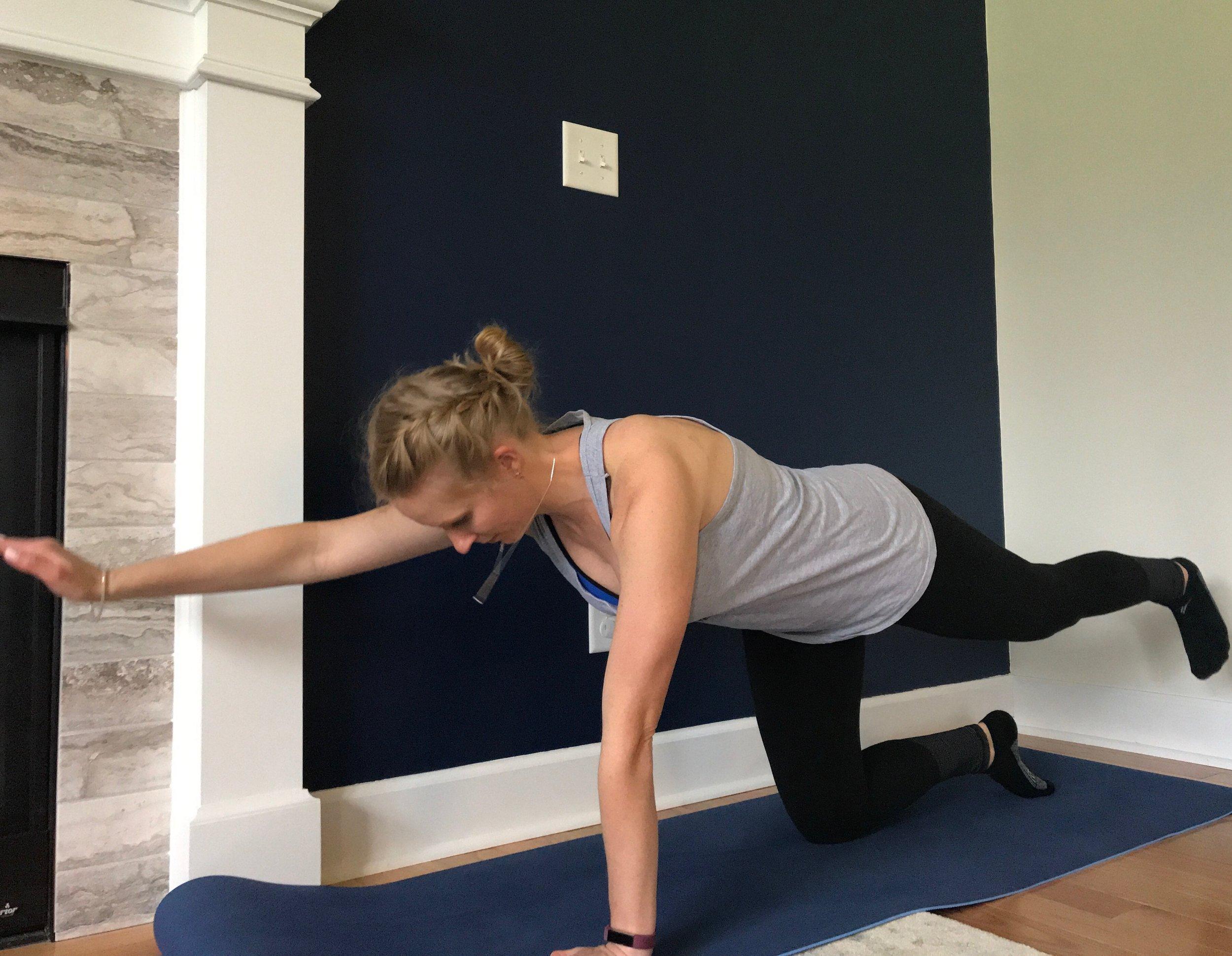 Alternating arm/leg raises