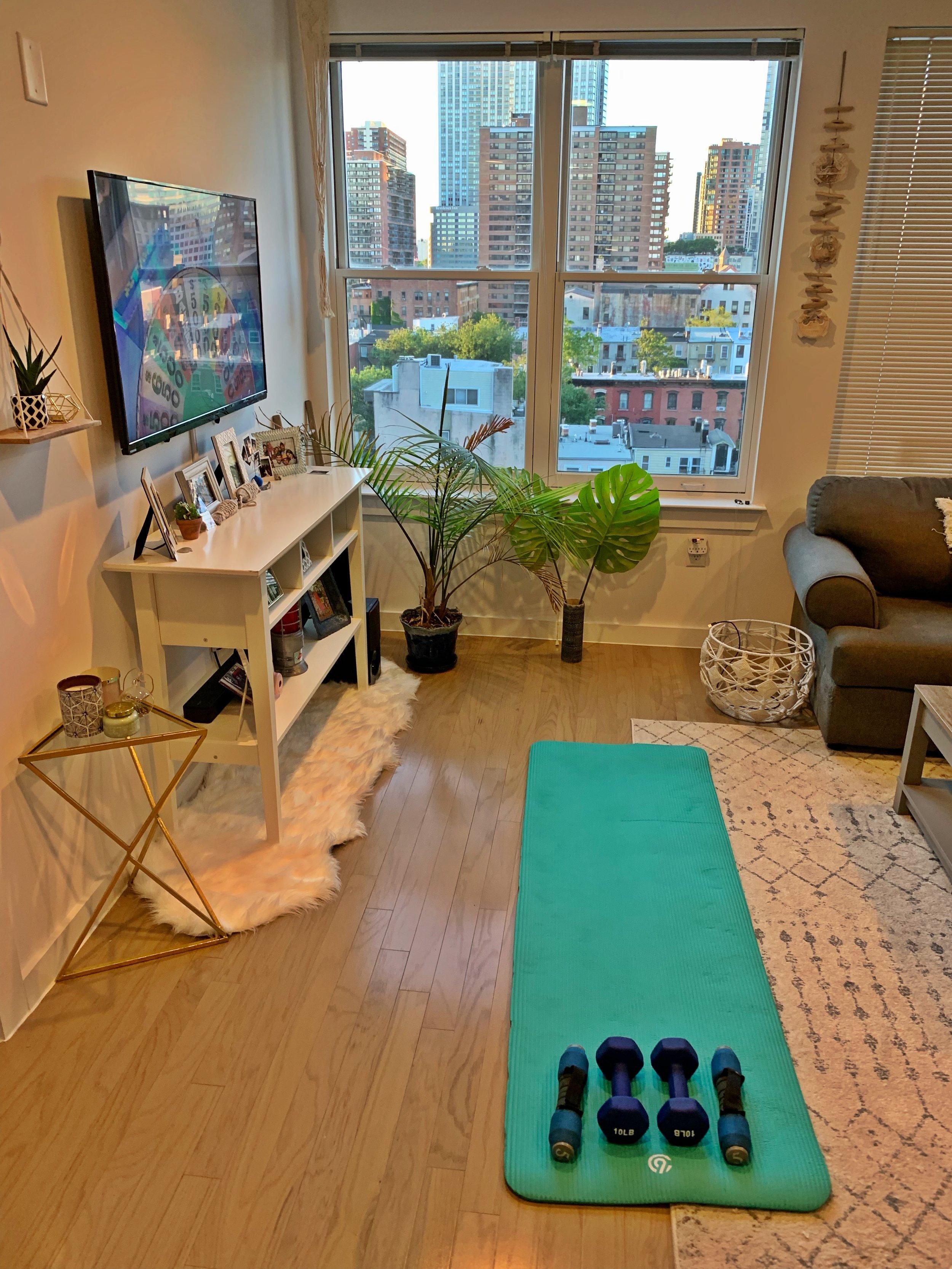 Lauren's home gym setup.