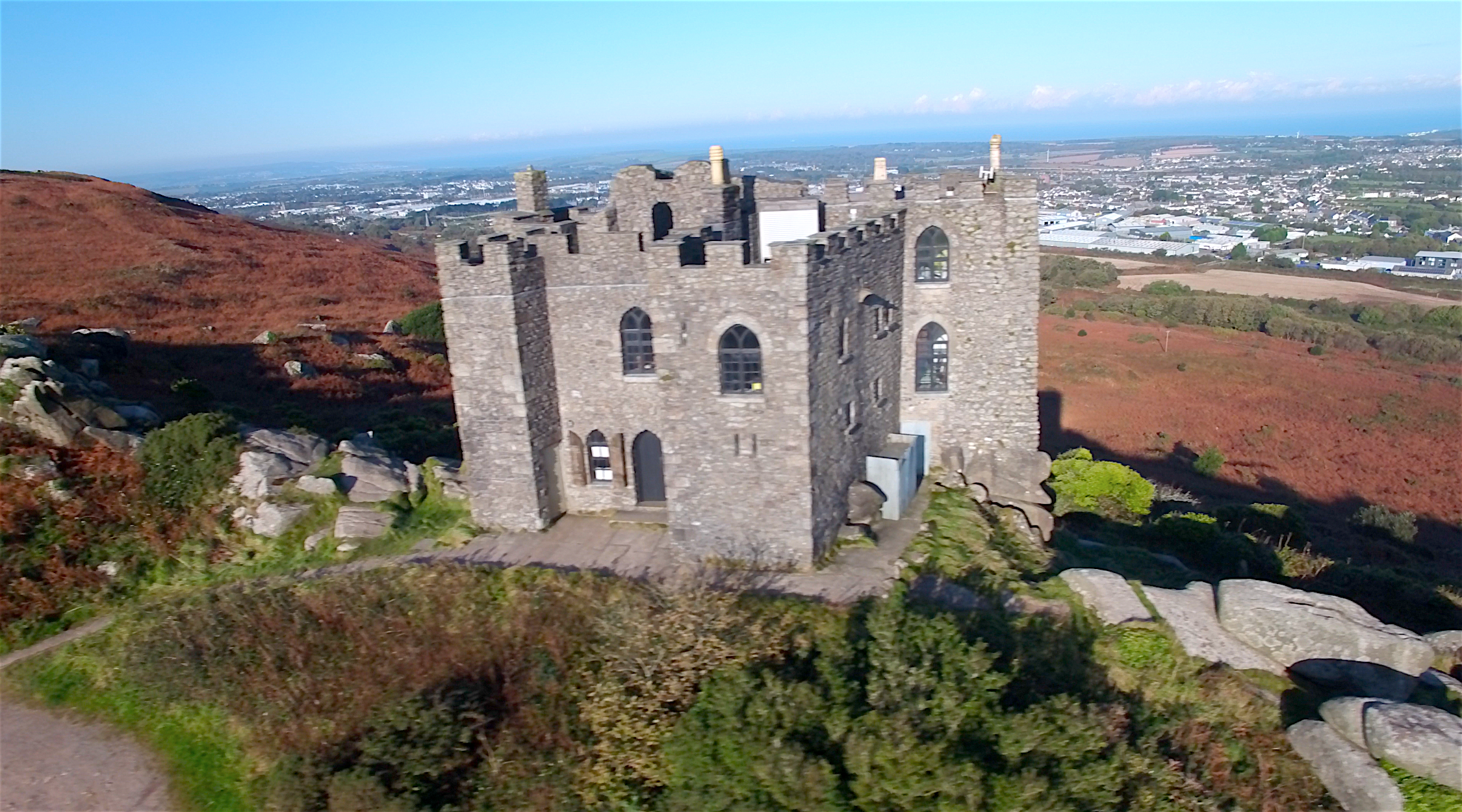 Carn Brea castle aerial photo.png