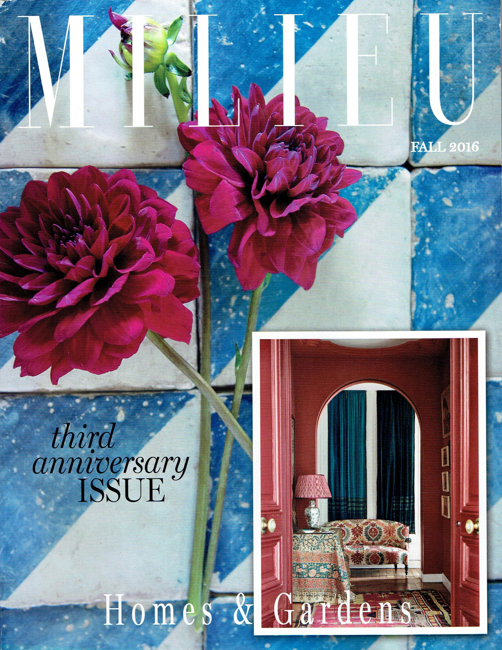 Milieu Fall 2016 : Featuring Carolina's Paris Apartment : Included are  Indian Flower (Red/Blue) ,  Tamar Tonal (Coral) , and  Kandyli (Rose/Blue)