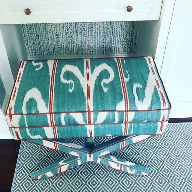 Cute and chic stools for a boys bedroom. 💙🧡💙🧡💙🧡Work and photo via @sallybrowninteriors Stools upholstered with our fabric, Trebizond in color Celadon #carolinairvingtextiles #trebizond