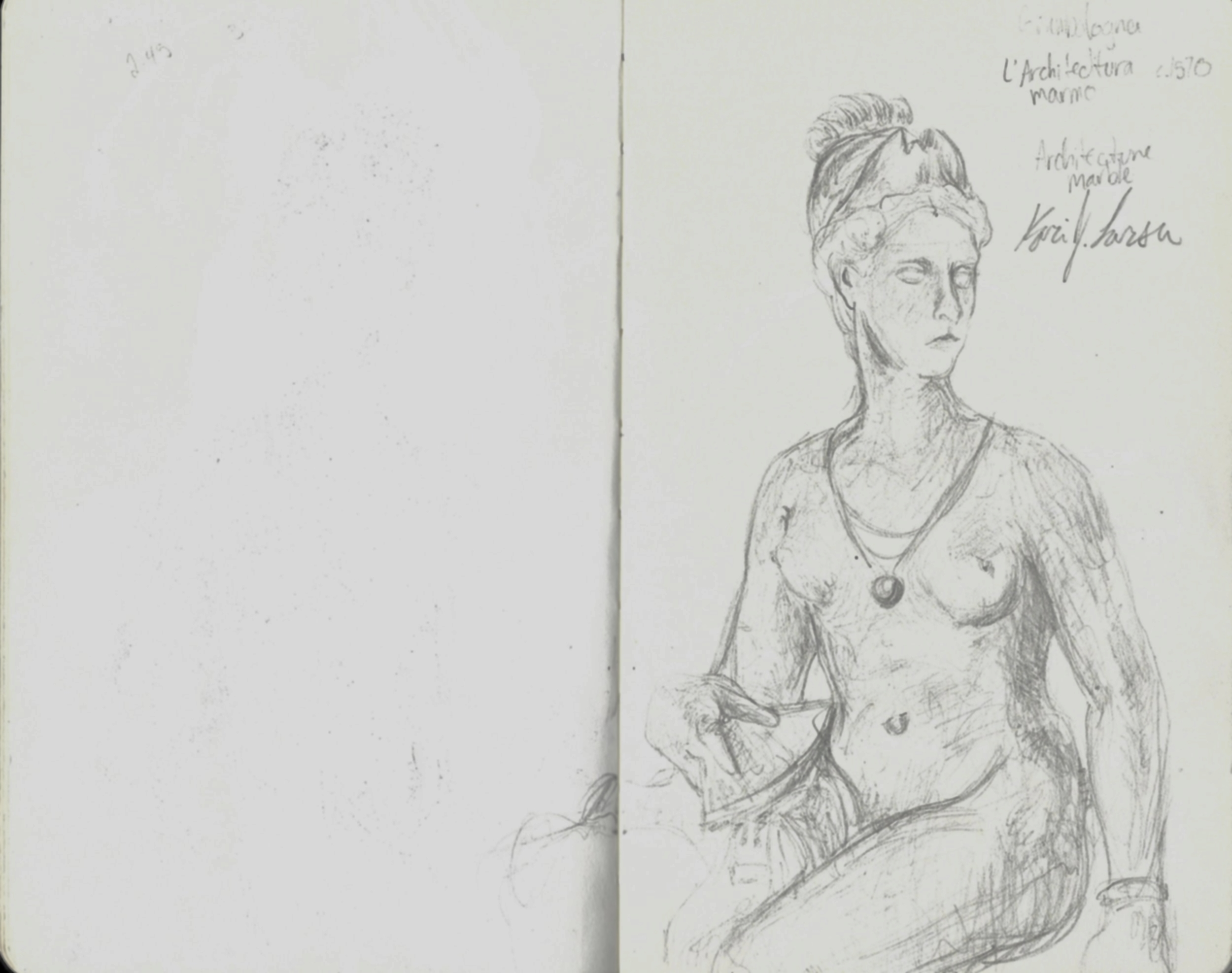 Sketch of nude figure of a woman with instrument