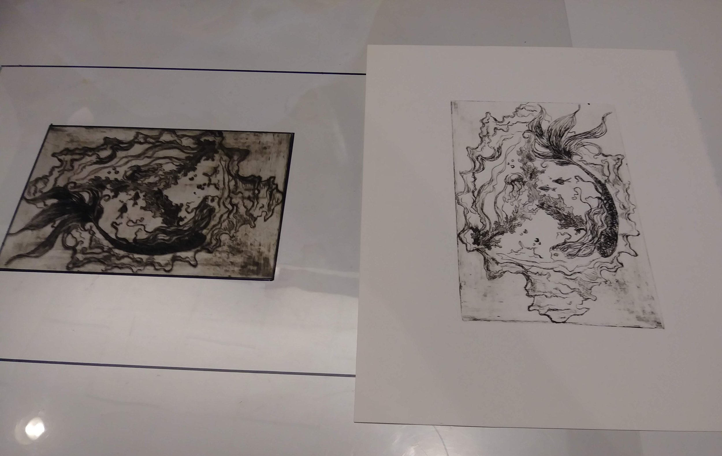 Peaceful Abyss - Drypoint Etching on Plexi glass, 2018
