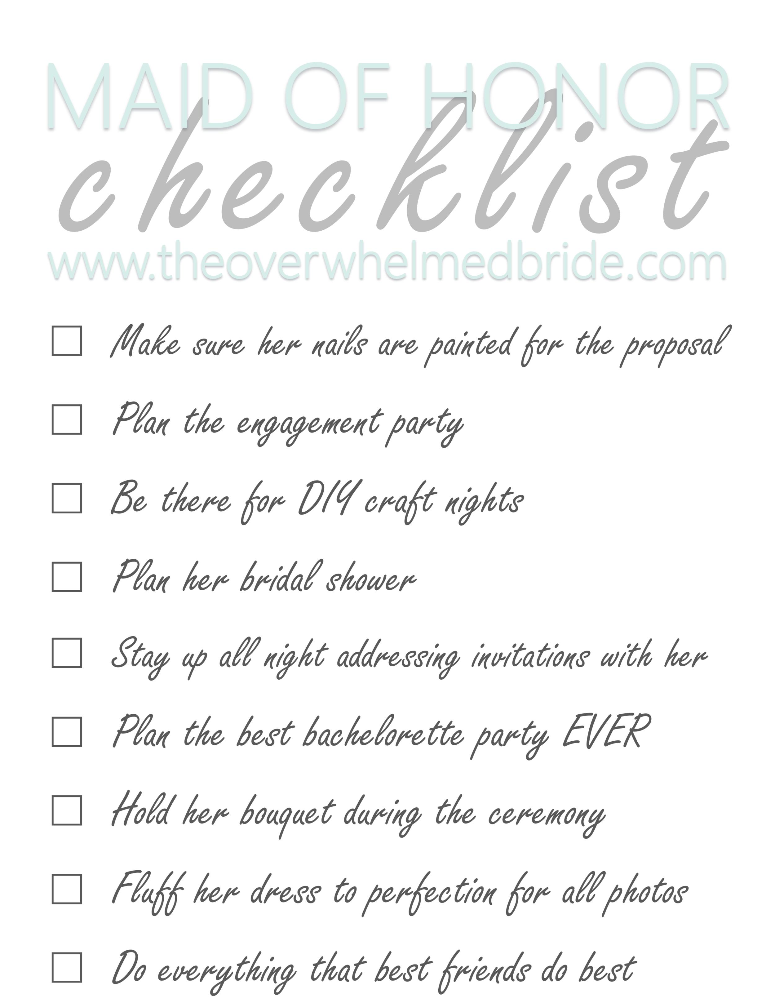 Maid of Honor Checklist - The Overwhelmed Bride // Bridal Lifestyle + Wedding Blog