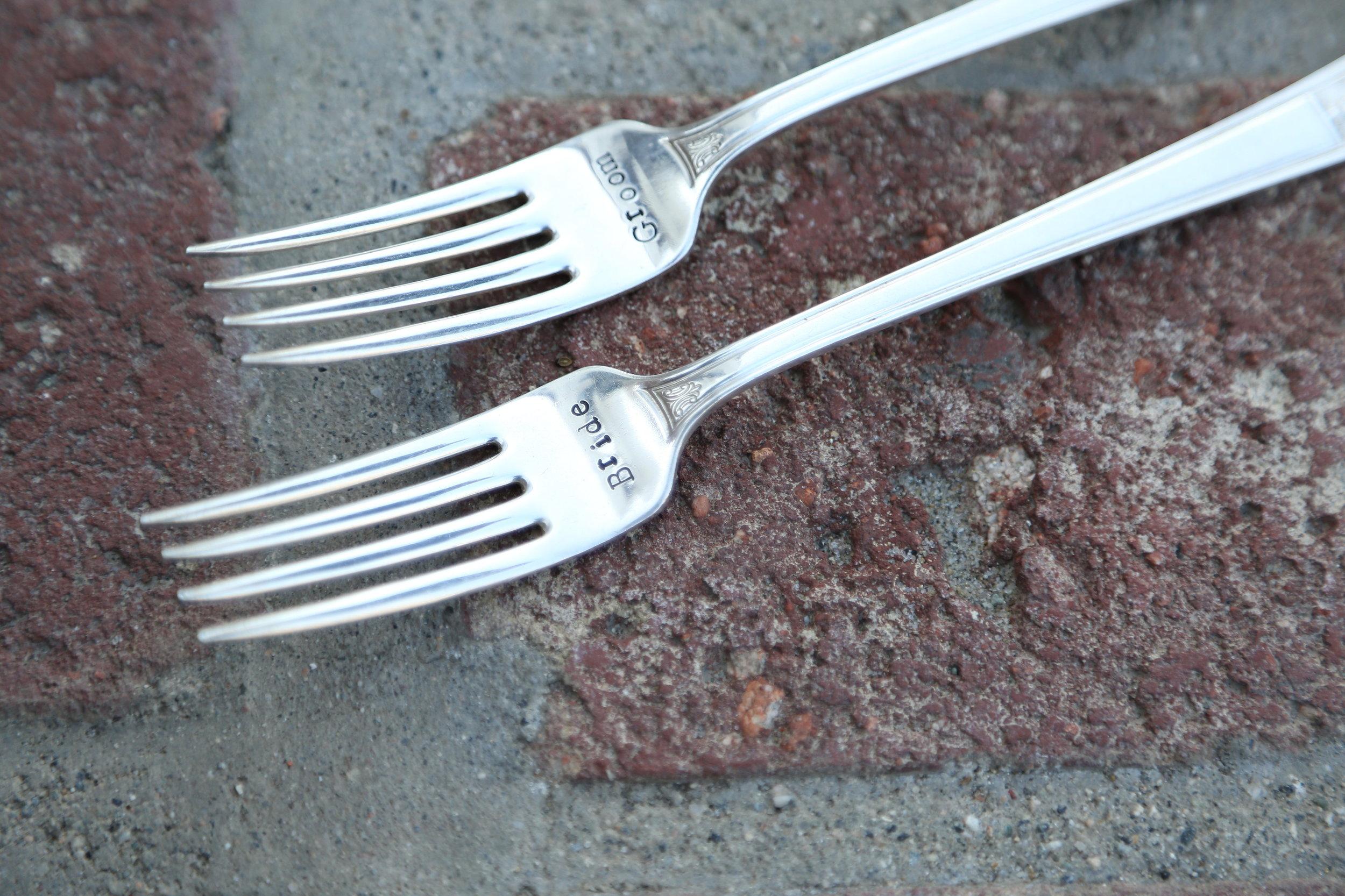 Engraved Mr and Mrs Forks