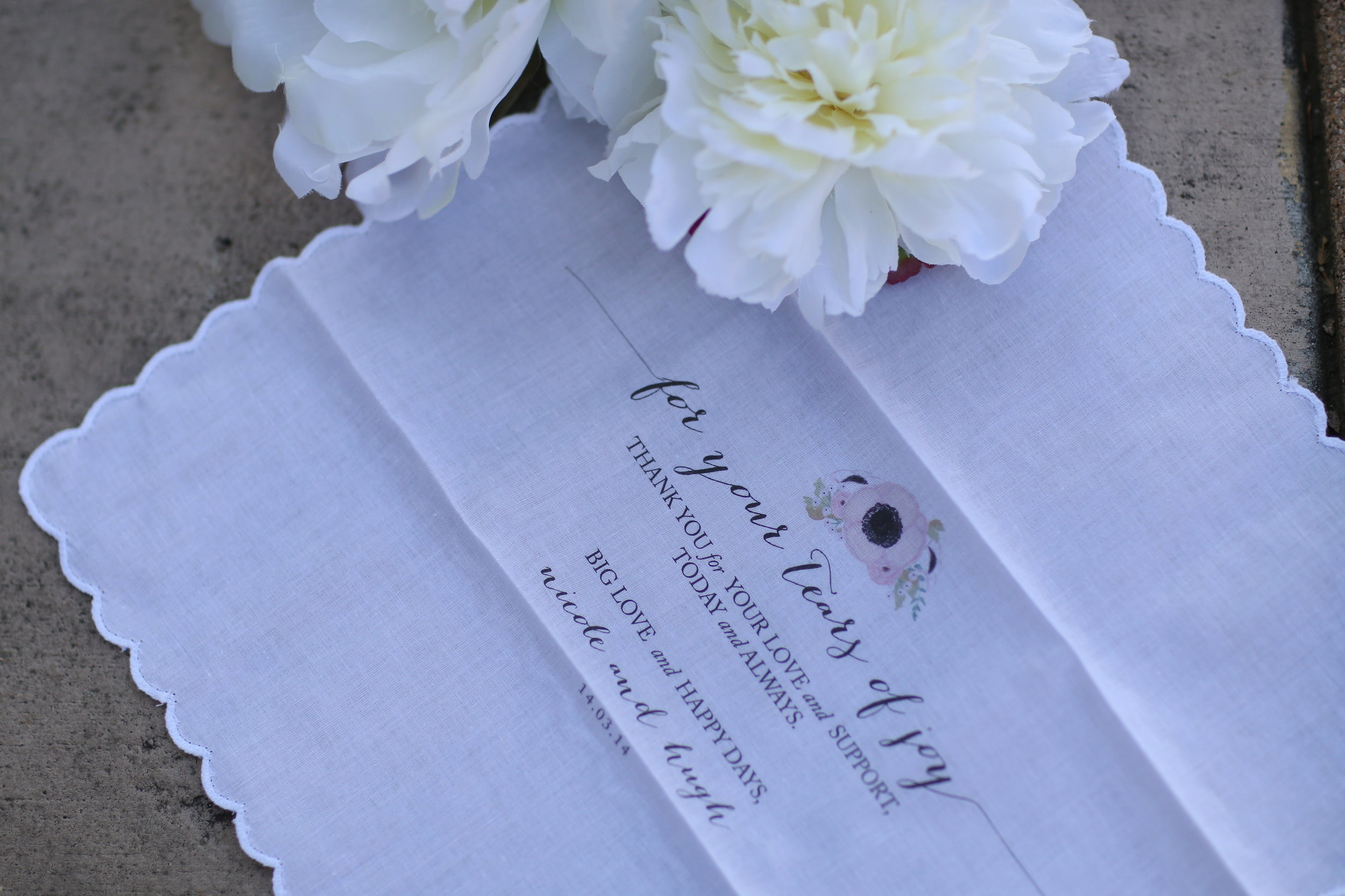 wedding handkerchief by the polka dotted bee
