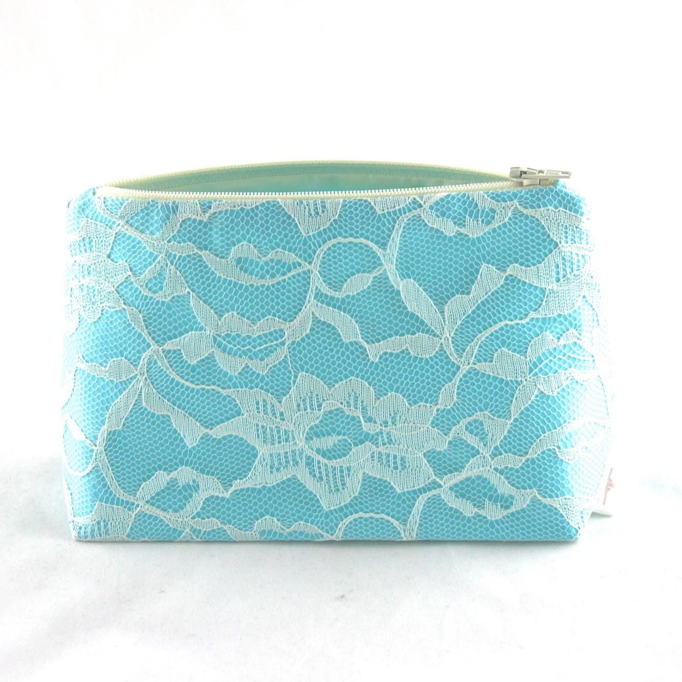 Aqua & Ivory Lace Bridal Cosmetic Bag by Le Pique Nique - 03.jpg