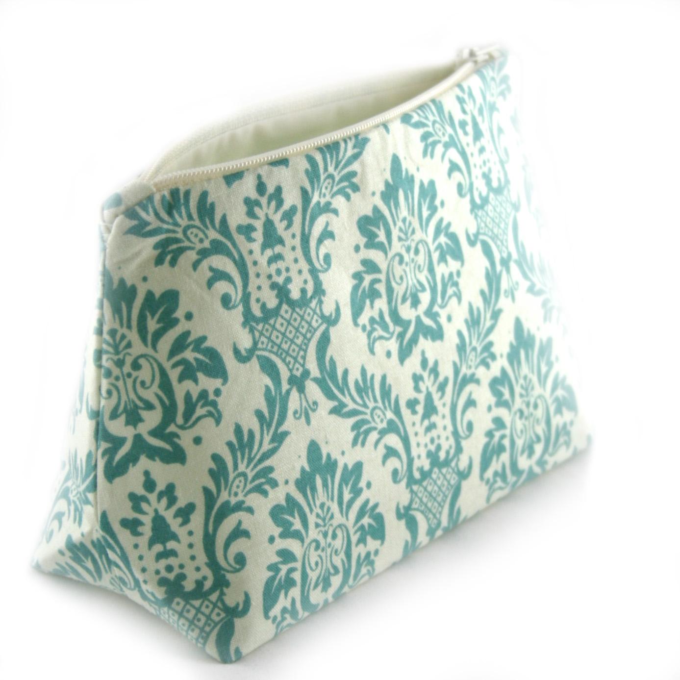 Aqua Floral Damask Cosmetic Bag by Le Pique Nique.jpg