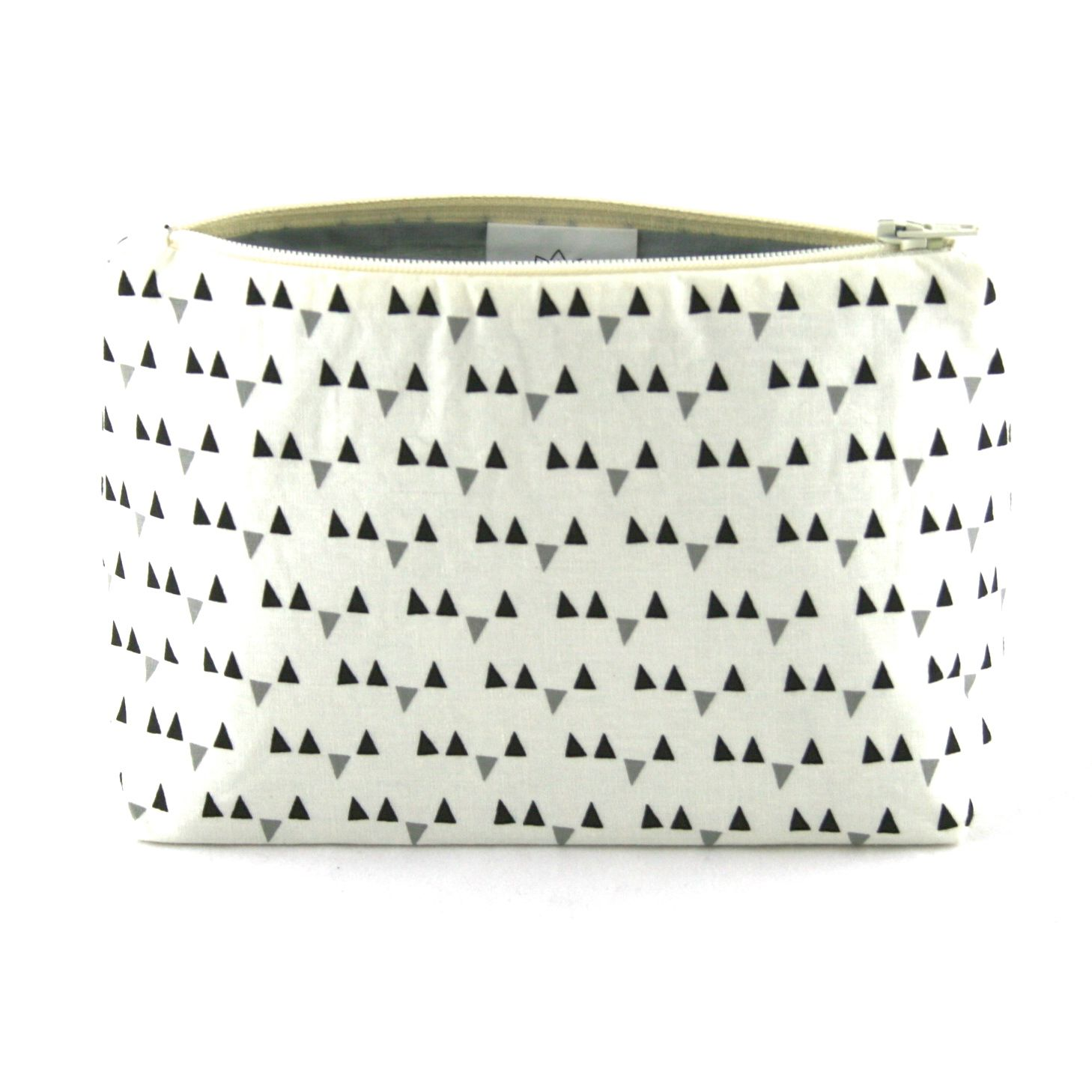 Gray Mini Triangle Makeup Bag - Le Pique Nique by Jordani Sarreal 01.jpg