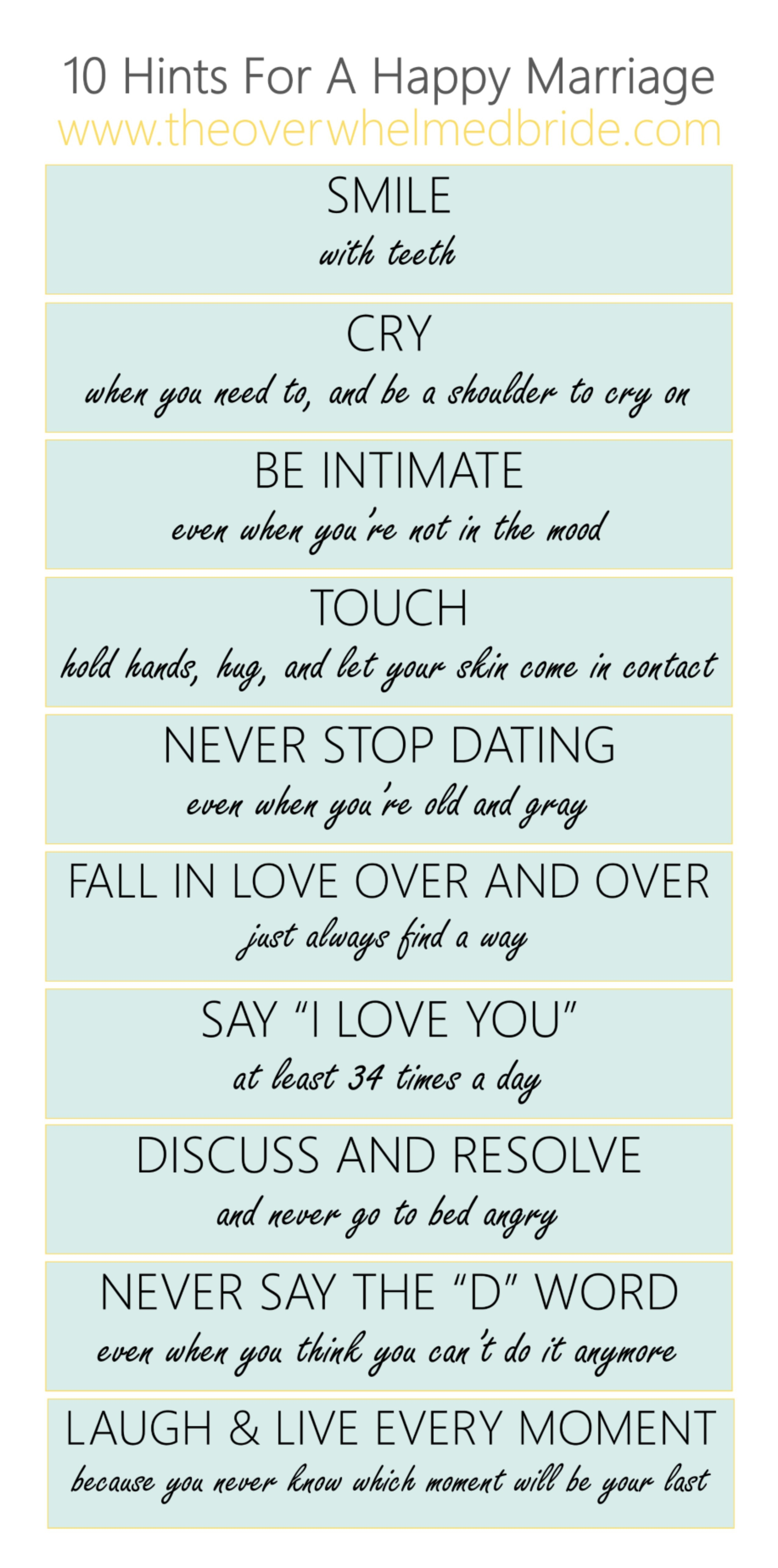 10 hints for a happy marriage