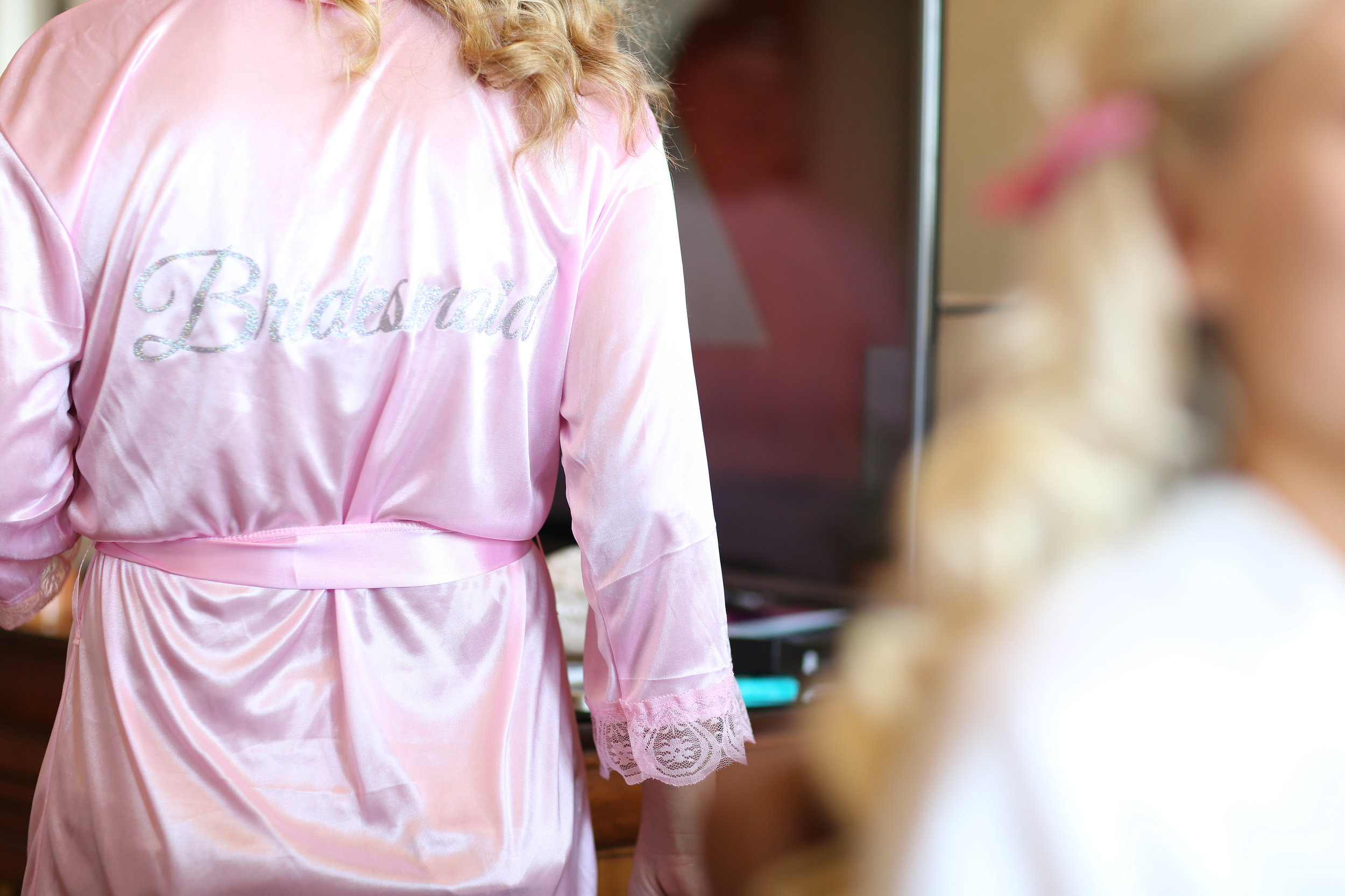 bridesmaid pink getting ready robes