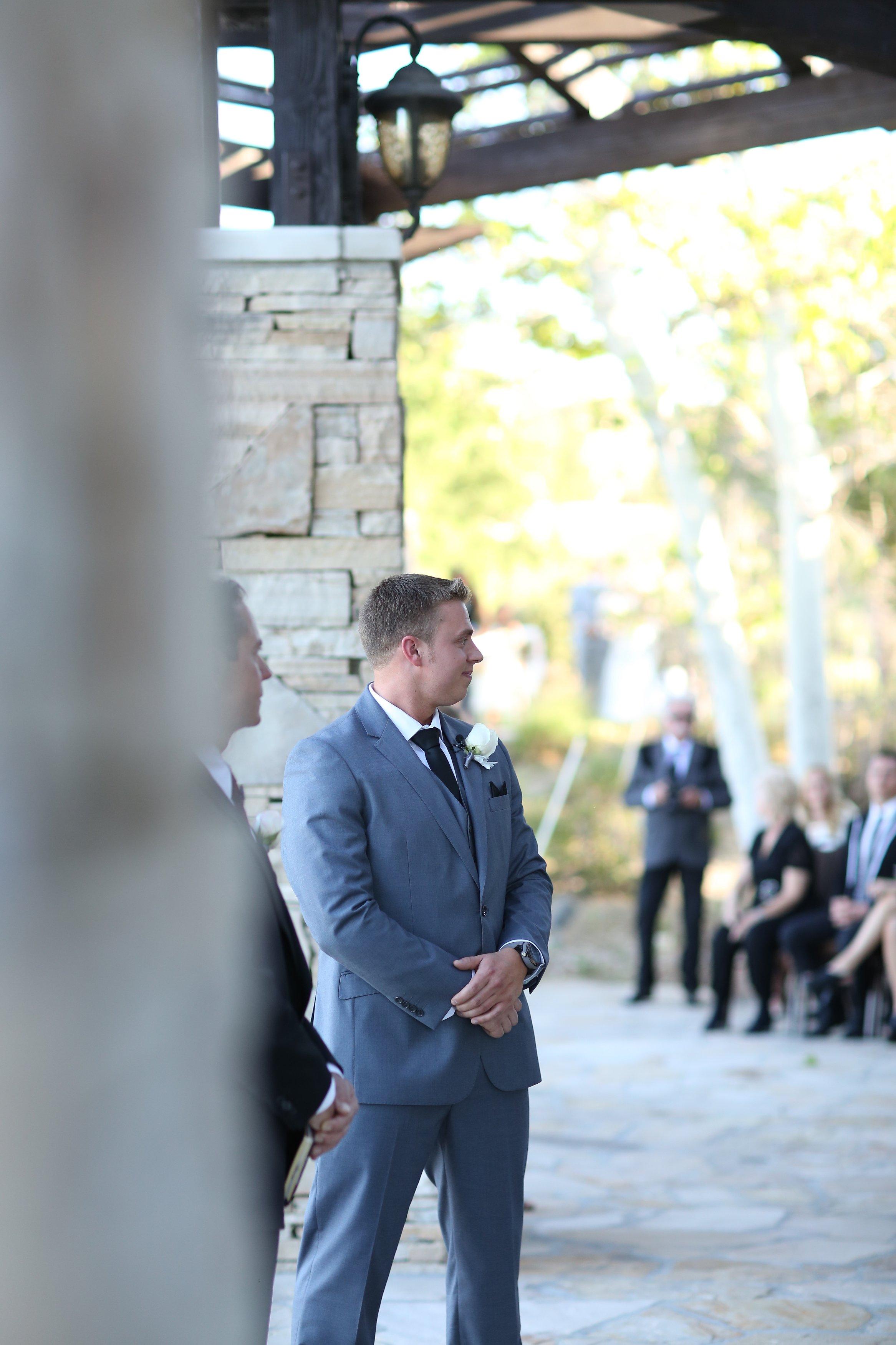 groom first look shot