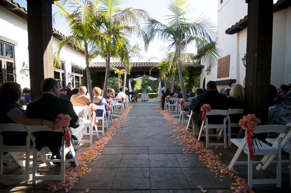 wedding ceremony salmon orange decor