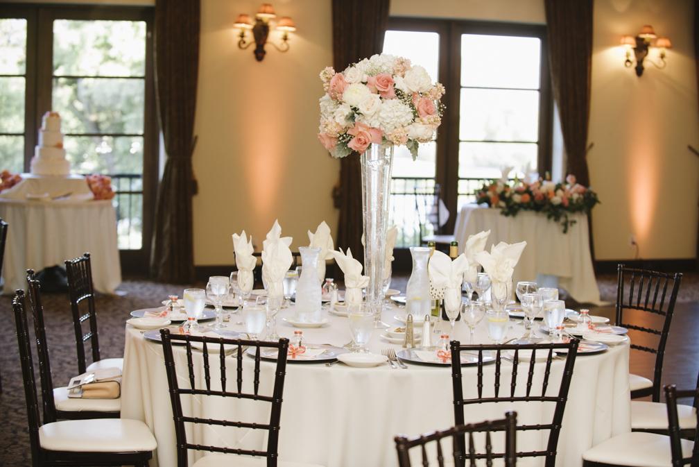 salmon and white wedding centerpiece