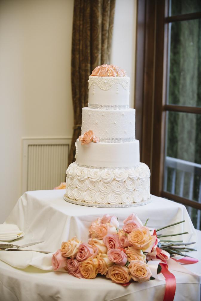 elegant wedding cake salmon and white