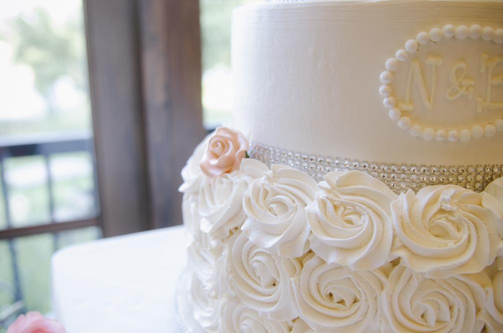 monogrammed elegant wedding cake salmon and white