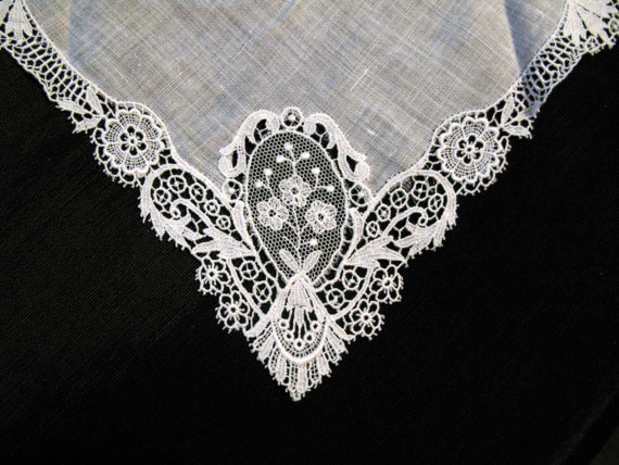 something old antique lace handkerchief