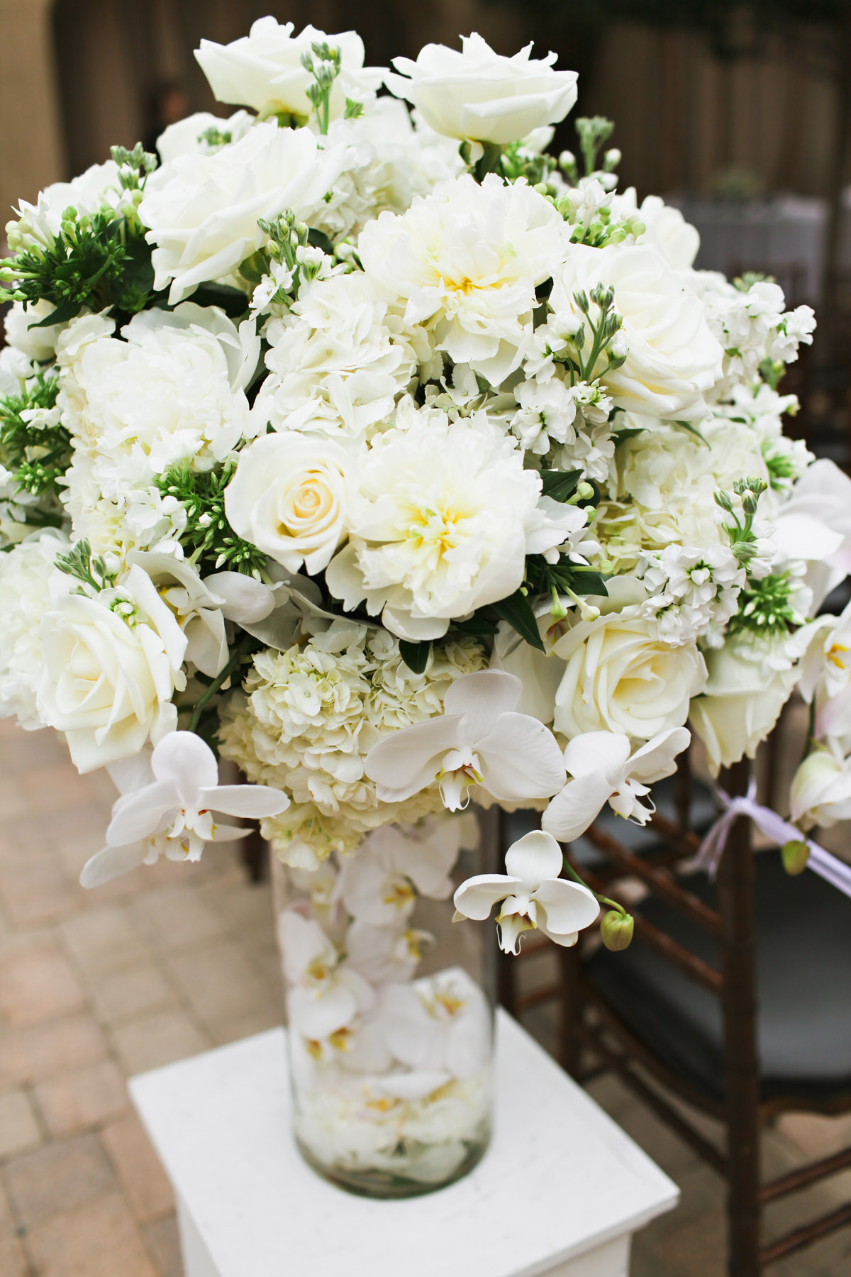 all white wedding floral