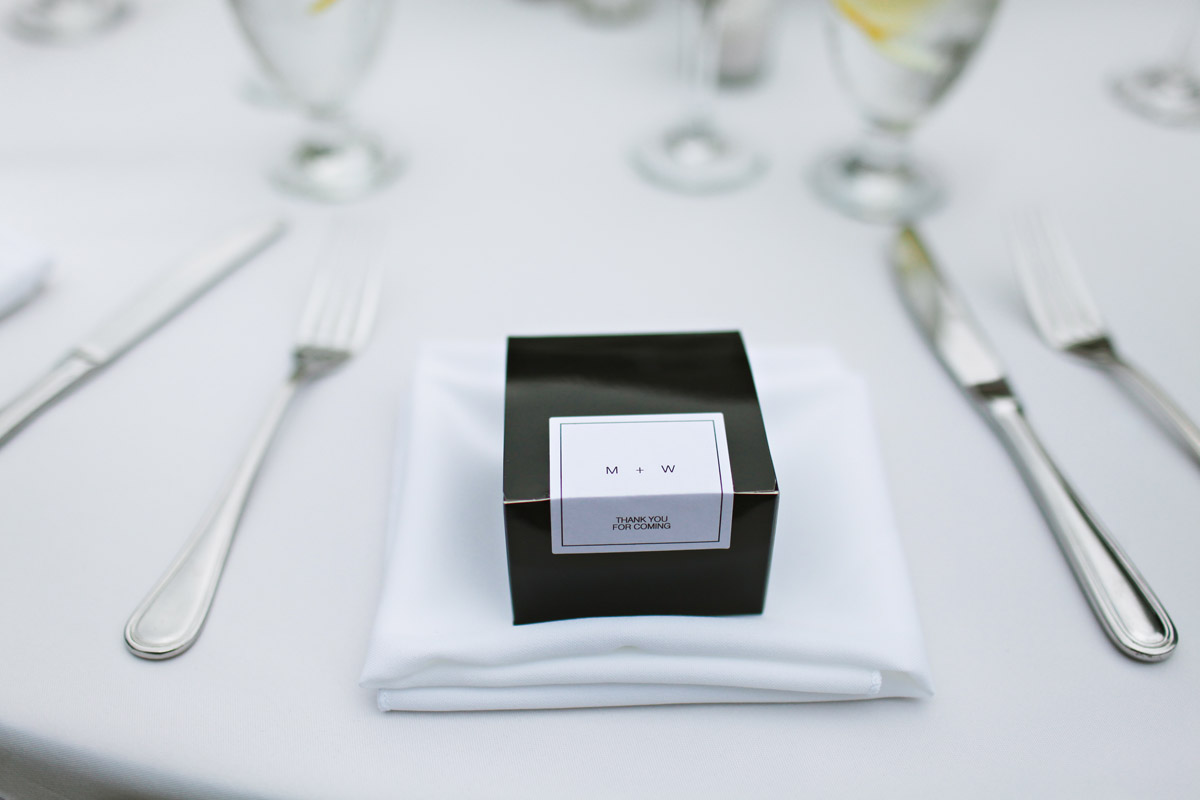 simple black and white wedding favor boxes