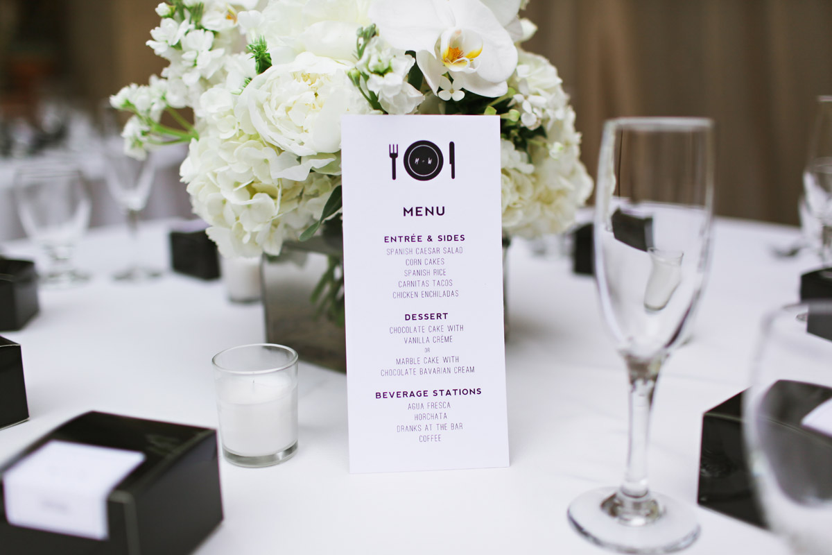wedding dinner menu cards