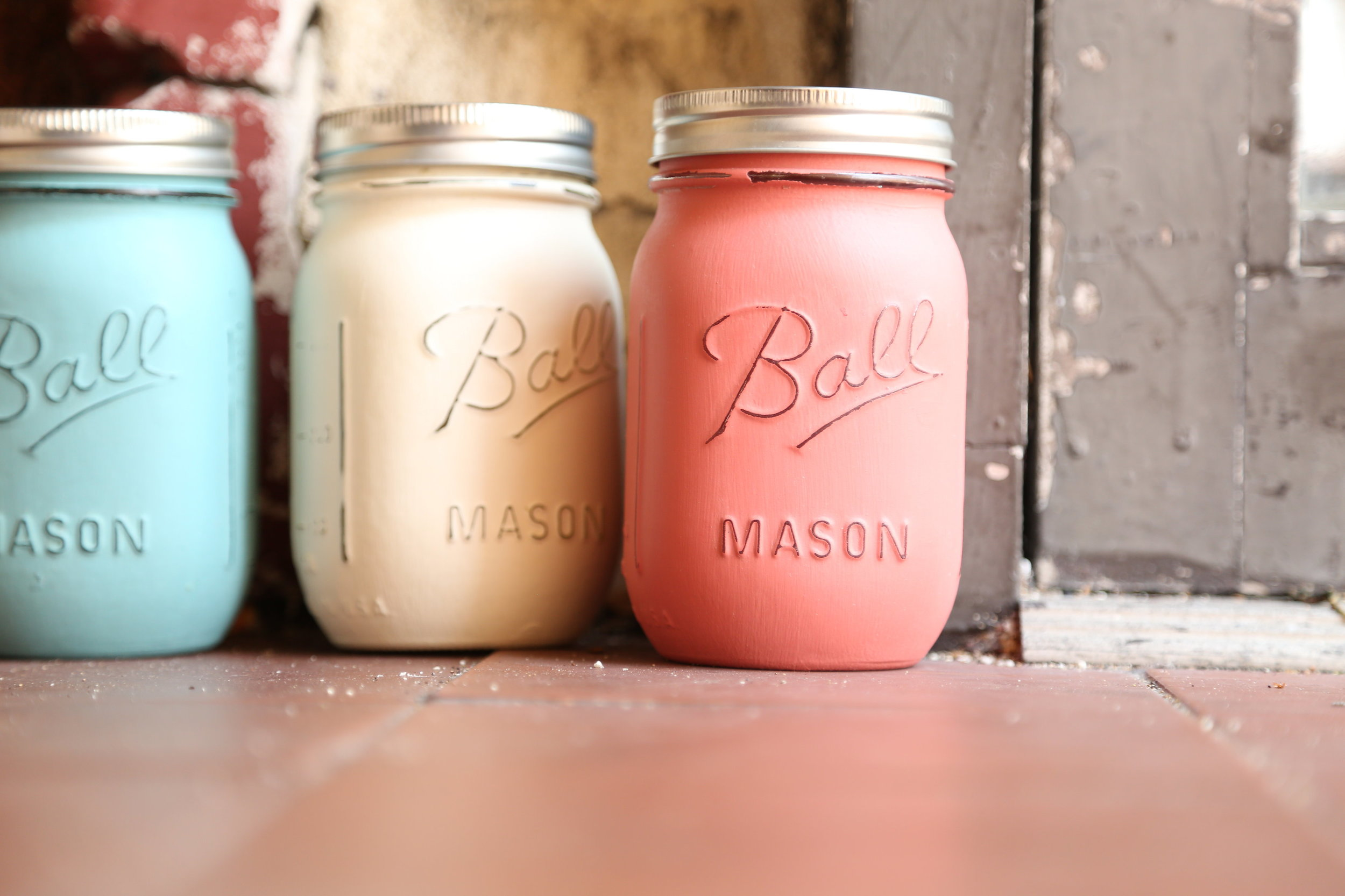 painted mason jar wedding decor