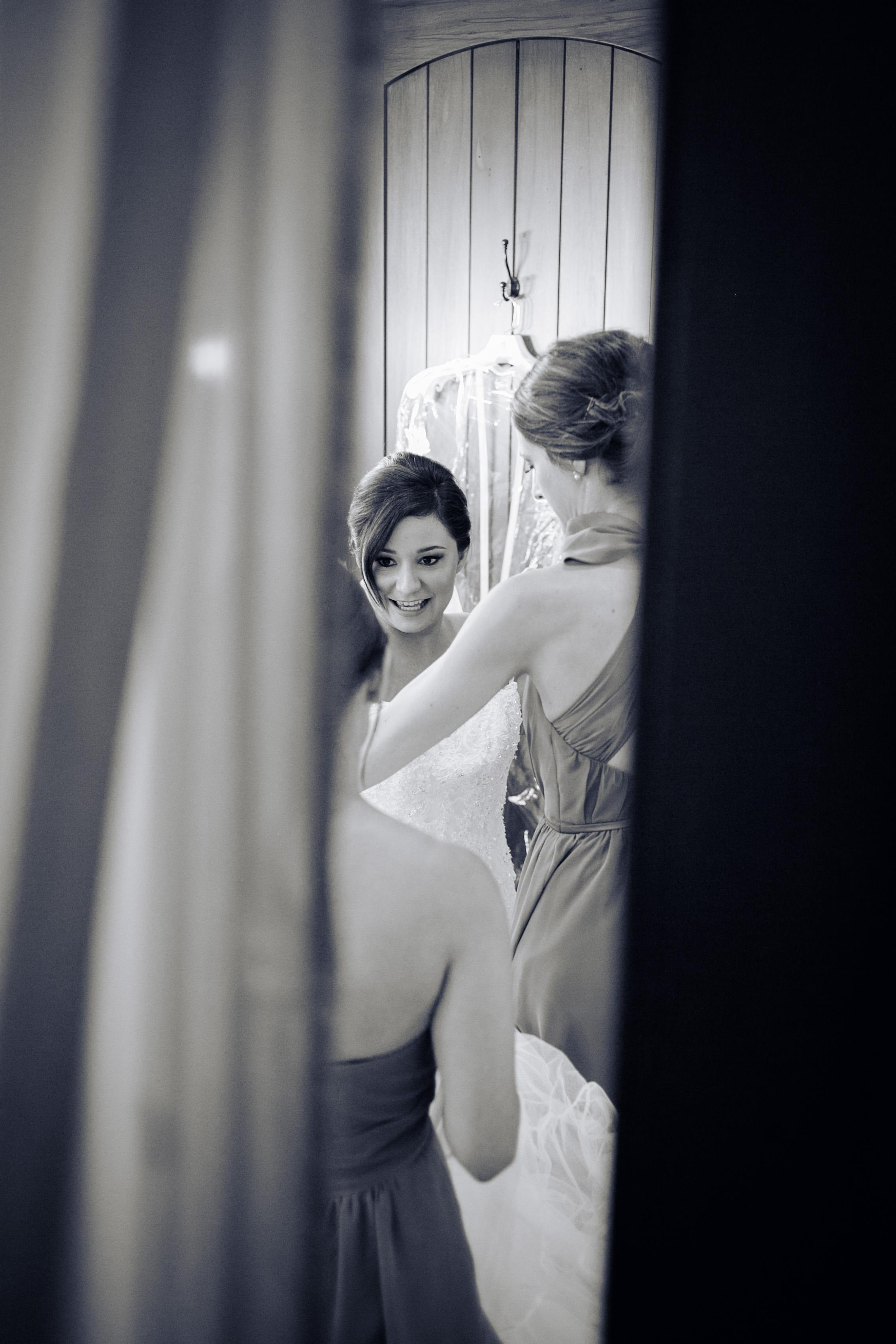 bridesmaid + bride getting ready shots