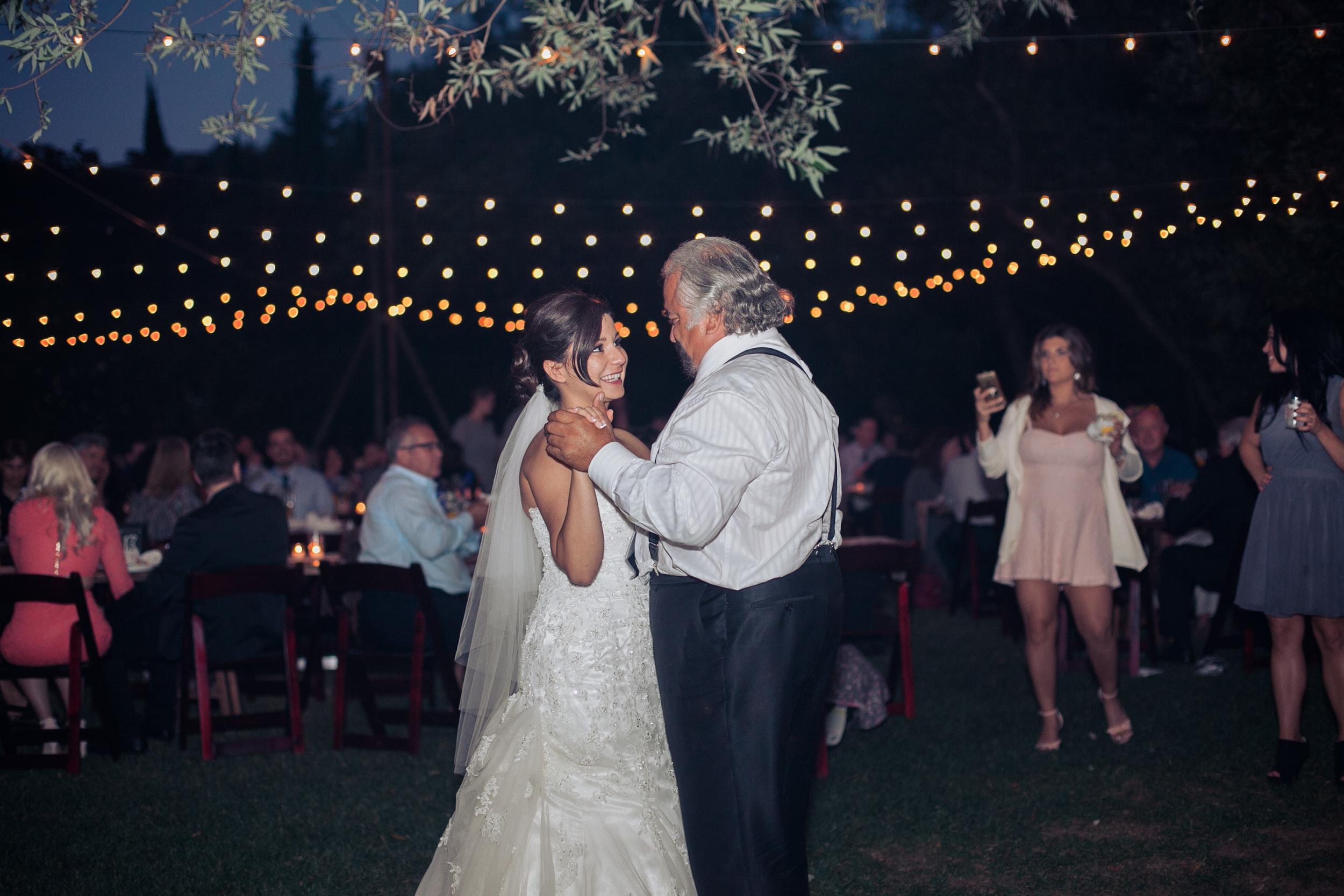father daughter dane outdoor wedding bistro lights