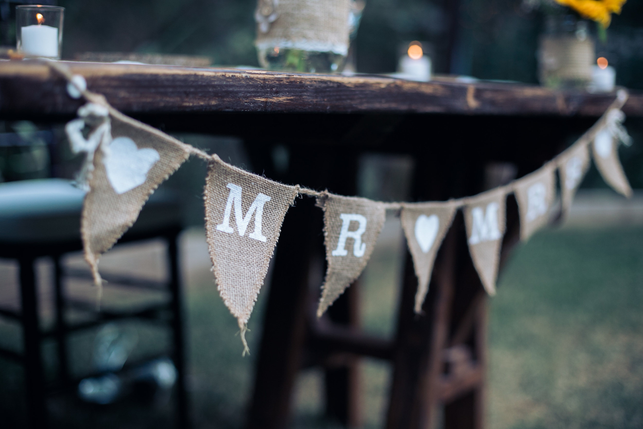 rustic mr and mrs burlap flag banner