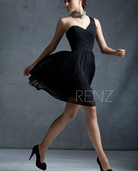 2015 Black bridesmaid dress, One shoulder, Formal dress, Wedding dress,Evening dress, Party dress, Prom dress,Elegant dress (B012A)-Renzrags