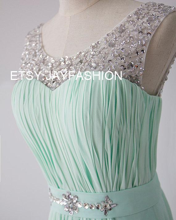 Mint Green Chiffon Simple Bridesmaid prom Dress V Back Sheer Beading Neckline A-line long Prom Dresses with Lace-up - Bridesmaid Dresses