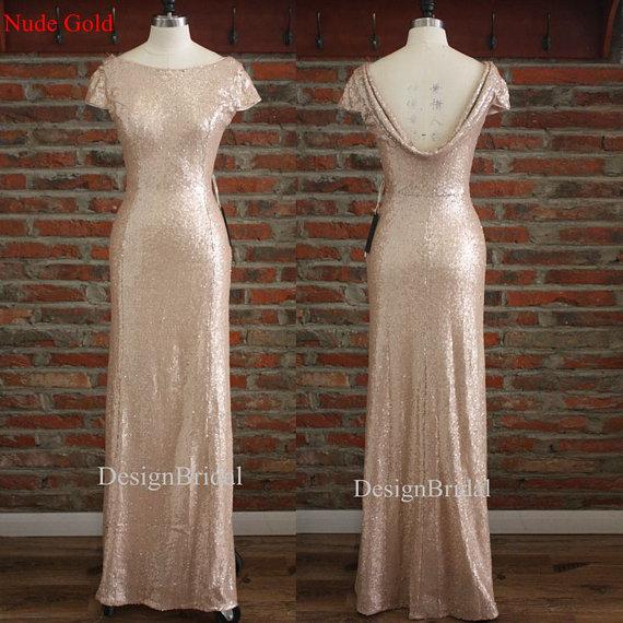 Cowl Back Bridesmaids Dresses,Cheap Bridesmaid Dress Long,Gold Sequins Formal Dresses,Evening Special Occasion Dresses,Bridal Party Dress