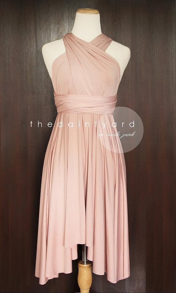 Nude Pink Bridesmaid Dress Convertible Dress Infinity Dress Multiway Dress Wrap Dress Wedding Dress Maid of Honor Dress Twist Dress