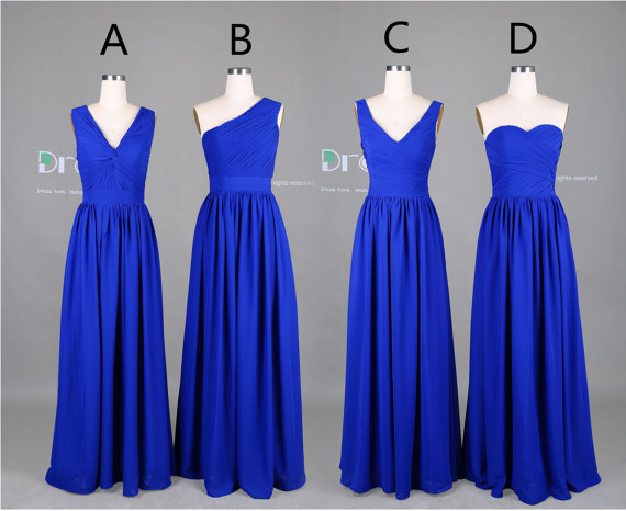 New 2015 Custom Made Royal Blue Long Chiffon Bridesmaid Dress/Maid of Honor Dress/Wedding Party Dress/Long Bridesmaid Dresses DH376