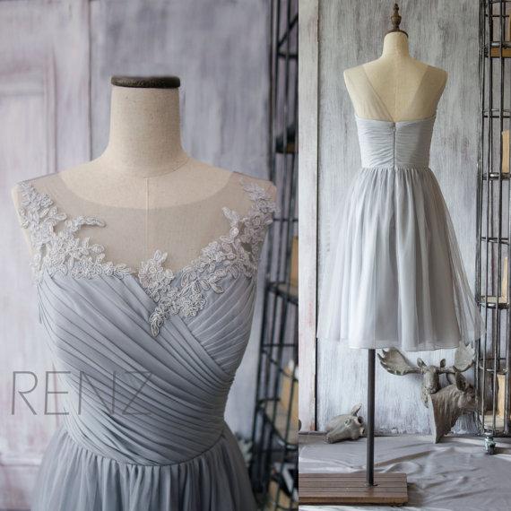 2015 Chiffon Short Bridesmaid Dress, Grey Cocktail Dress, Gray Tea Length Dress, Prom Dress, Lace Neck Formal Dress (F149)-Renz