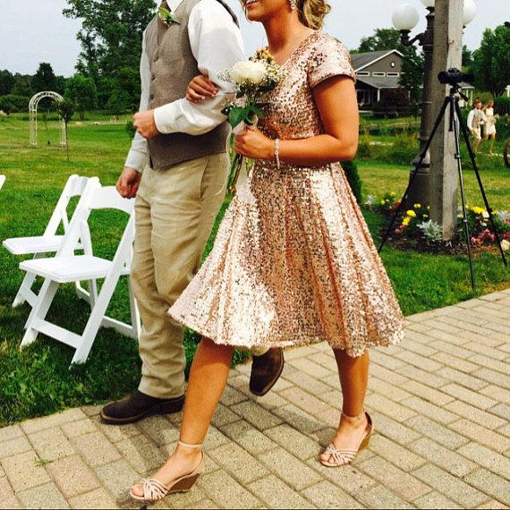 Cocktail Dress, Rose Gold Sequin Bridesmaid dress, Wedding dress, Short Sequin dress, Party dress, V neck Formal Dress, Mini Prom dress